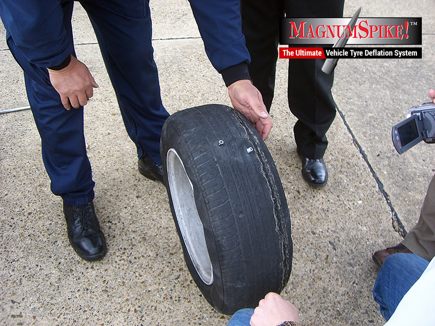 Deflating tyre caused by Magnum Spike Tyre Spikes